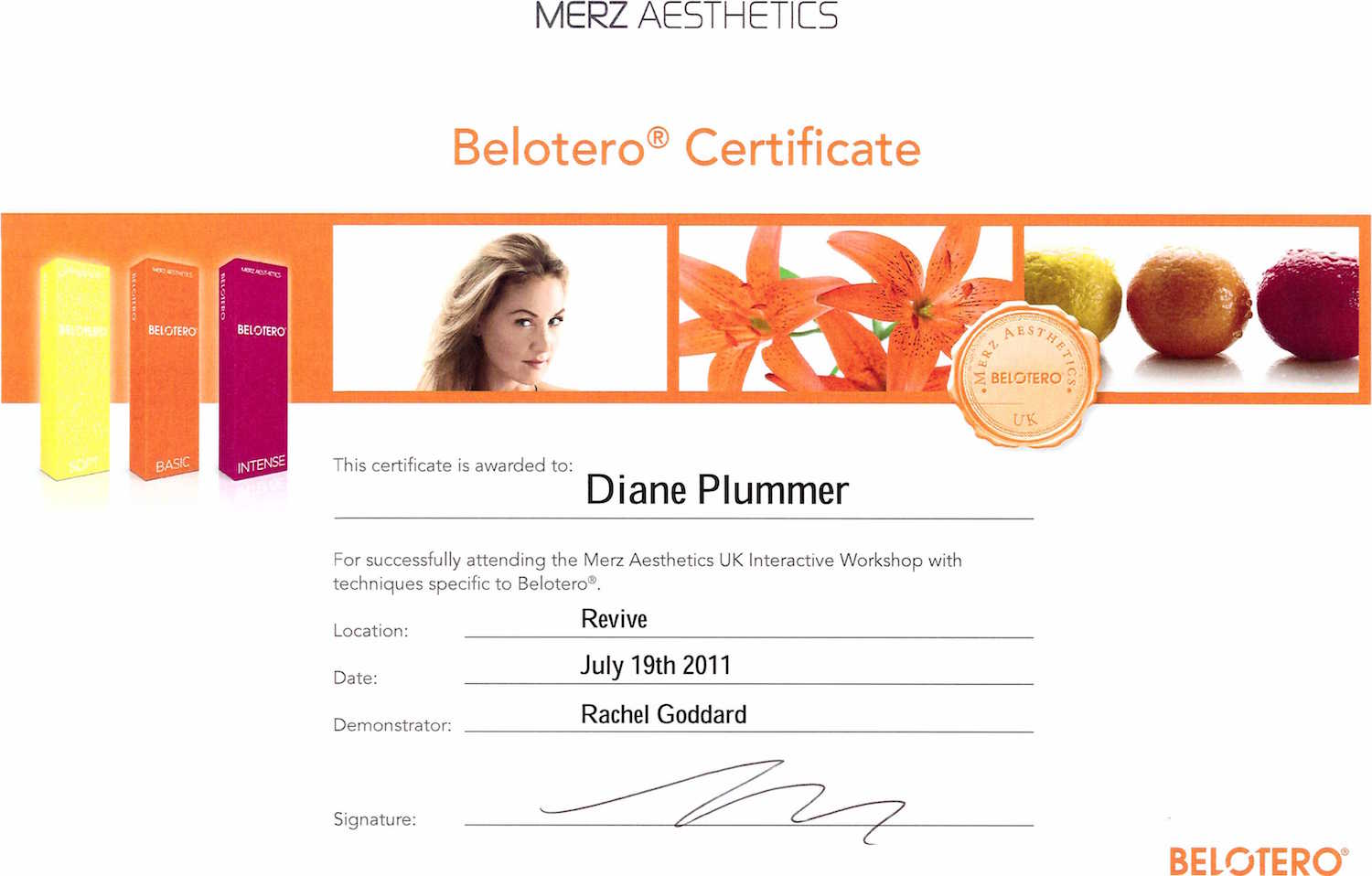 belotero advanced training certificate