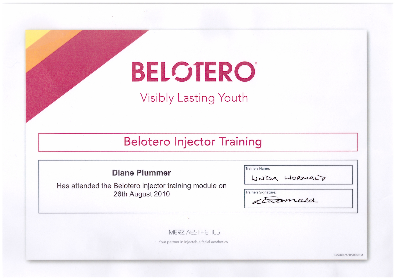 Belotero dermal fillers advanced injector training successfully completed by Diane Plummer Revive Aesthetics