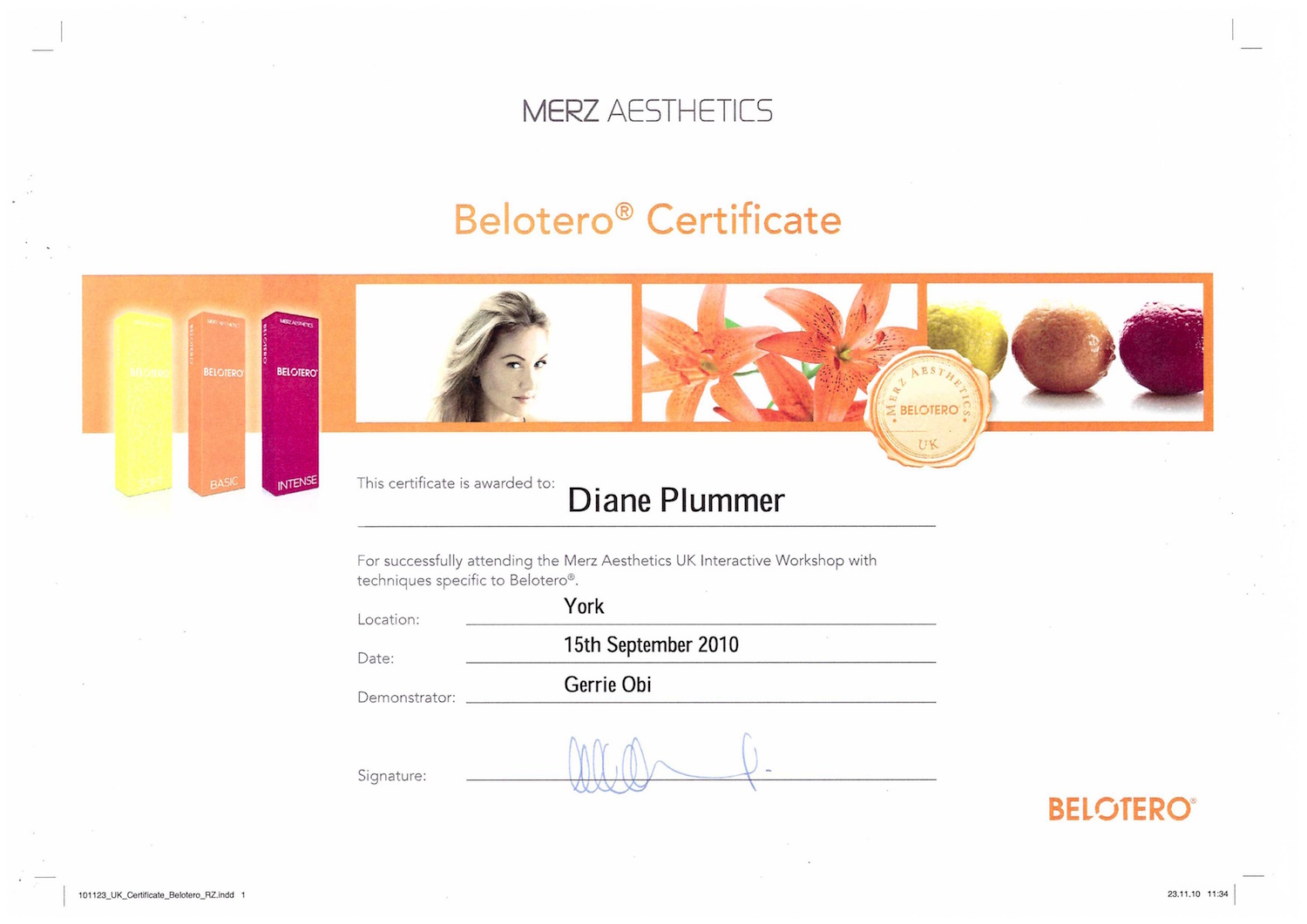 Belotero certification awarded to Diane Plummer Revive Aesthetics