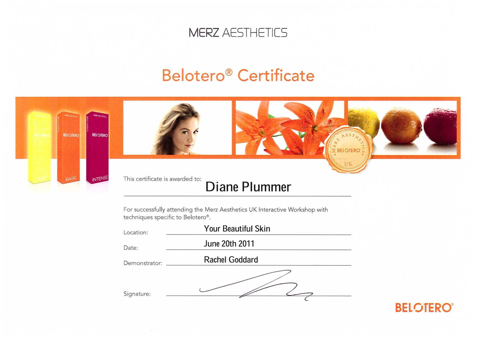 Belotero dermal fillers advanced training awarded to Diane Plummer | Revive Aesthetics