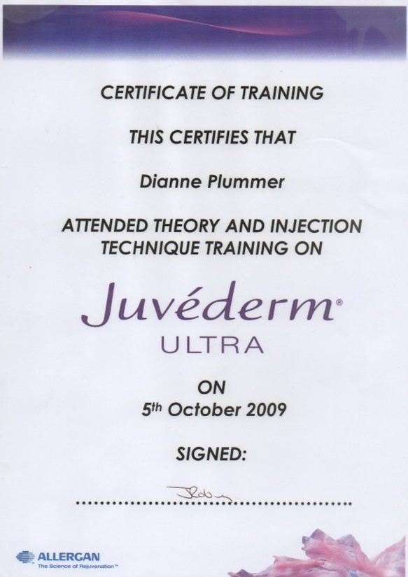 Juvederm Ultra certification awarded to Diane Plummer Revive Aesthetics