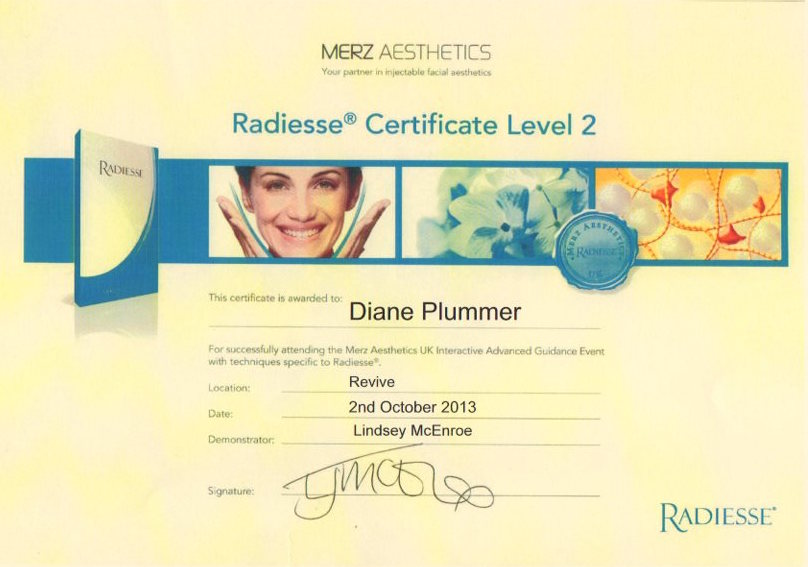 Radiesse Certificate Level 2 awarded to Diane Plummer – Revive Aesthetics