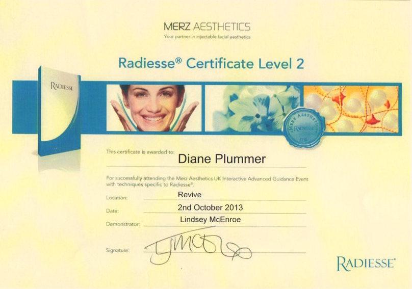 Radiesse Certificate Level 2 awarded to Diane Plummer – Revive Aesthetics