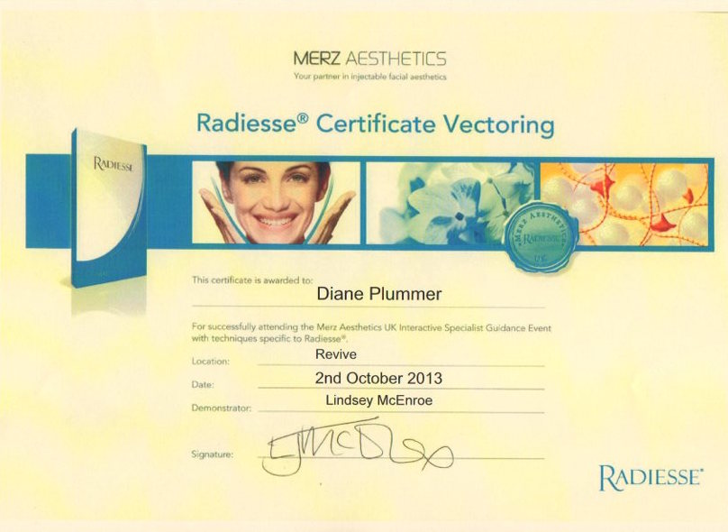 Radiesse Certificate Vectoring awarded to Diane Plummer – Revive Aesthetics