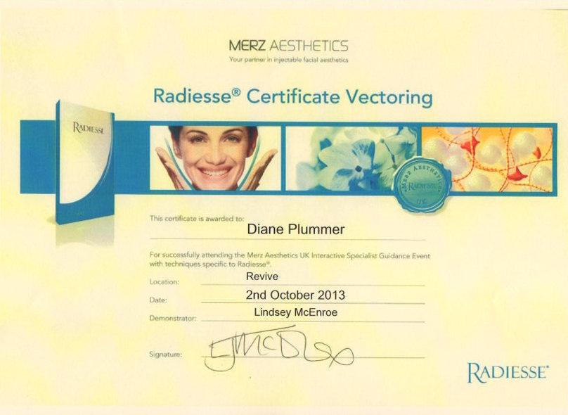 Radiesse Certificate Vectoring awarded to Diane Plummer – Revive Aesthetics
