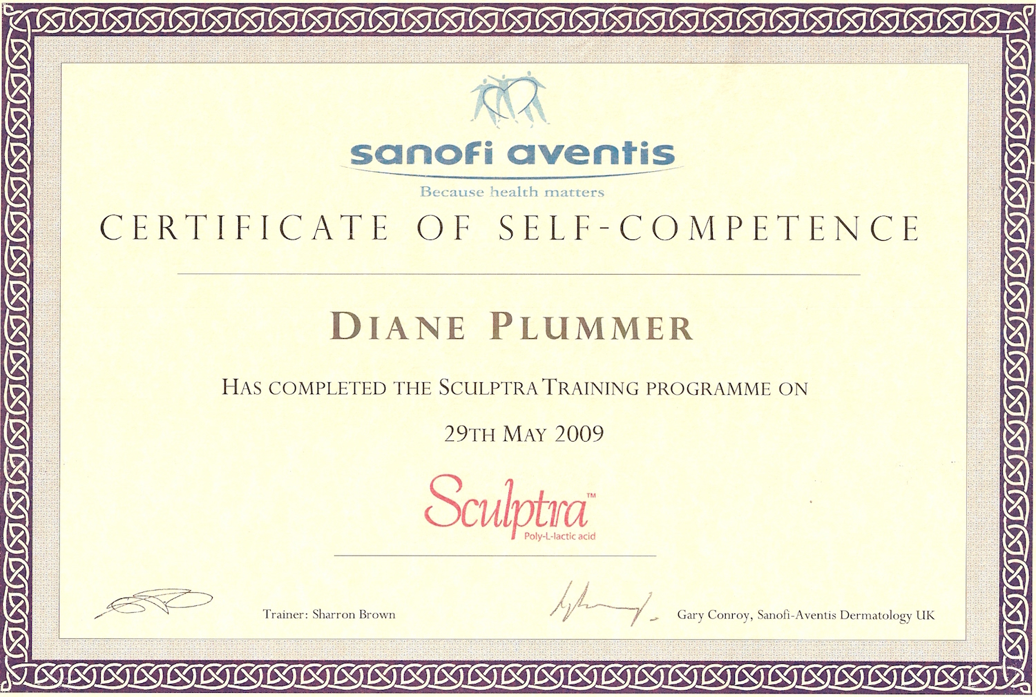 Sculptra training programme successfully completed by Diane Plummer - Revive Aesthetics